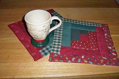 Christmas mug rug candle mat hot pad log by granniesraggedybags, $10.00