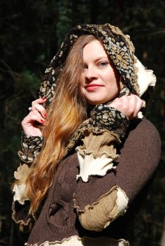 Fairy Pixie Elven Hoodie Sweater Bohemian Hippie Gypsy Witch Pagan Nymph Dryad Gnome Patchwork Hooded Top Fantasy Woodland OOAK Recycled