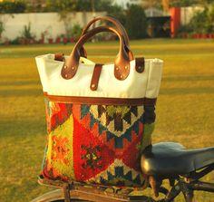folk art wool kilim tote bag by artimageindia