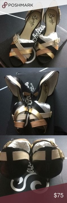 New Seychelles Gold Pink Black Sandal Heels 7.5 New in box! Stunning beautiful shoes. Anthropologie Shoes