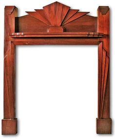 1930s Mahogany Art Deco Fireplace Mantel