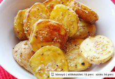 Fűszeres-szezámos burgonya Snack Recipes, Cooking Recipes, Snacks, Just Eat It, Chips, Food And Drink, Potatoes, Vegetables, Foods