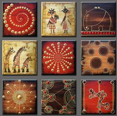I luvvv this combination for wall decor Kunst Der Aborigines, Ceramic Tile Art, Africa Art, African American Art, Indigenous Art, Small Paintings, Aboriginal Art, Mural Art, Dot Painting