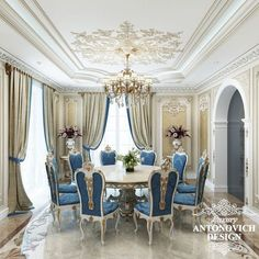 Elite project of the house with a cozy living room in classical style from design Studio in Astana Luxury Antonovich Design Luxury Dining Room, Dining Room Design, Luxury Living, Dining Rooms, Classic Interior, Luxury Interior Design, Modern Mansion, Fashion Room, Ceiling Design