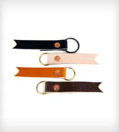 Handmade Leather and Copper Key Fobs