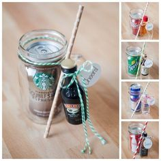 The Original DIY Mason Jar Cocktail Gifts! So freaking cute - you just have to see them! Wrap up a mason jar drinking mug, soda and a mini bottle of alcohol for a darling DIY cocktail gift! Pot Mason Diy, Mason Jars, Mason Jar Gifts, Diy Christmas Gifts, Holiday Gifts, Cheap Christmas, Father Christmas, Homemade Christmas, Christmas Birthday