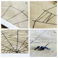 burlap-spider-web-table-runner-project - easy to draw spider web on it.  Maybe for one small table?