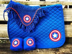 **This is NOT a patch. Only truly embroidered CA saddle pad and polo wraps on etsy**  Custom Captain America logo embroidery on a Saddle Pad,