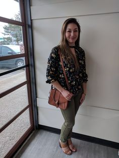 Well would you look at this lovely lady! She's sporting just a tiny taste of the gorgeous spring styles you'll find at #PlatosClosetOshawa – From flirty florals to earthy tones we have it all… for less! //#AE shirt, small, $20//#HM pants, 5/6, $12//#OldNavy purse, $4//#F21 heels, 7, $12// | www.platosclosetoshawa.com