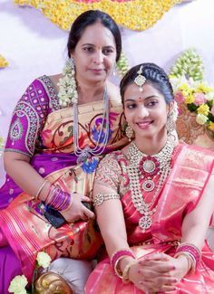 South Indian bride. Temple kundan jewelry. Jhumkis.Pink silk kanchipuram sari.Braid with fresh flowers. Tamil bride. Telugu bride. Kannada bride. Hindu bride. Malayalee bride.Kerala bride.