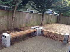 Easy patio bench in 2020 Backyard Patio Designs, Diy Patio, Backyard Landscaping, Fire Pit Landscaping Ideas, Backyard Seating, Fire Pit Bench, Fire Pit Backyard, Fire Pit Off Patio, Deck With Fire Pit