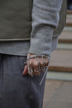 Armour chain jewellery is starting to trend on the streets on #NYFW #AW14 we love this bracelet and ring combo #MBFW