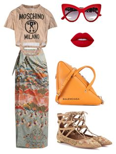 """Untitled #154"" by daii-deea on Polyvore featuring Stella Jean, Moschino, Dolce&Gabbana, Aquazzura, Lime Crime and Balenciaga"