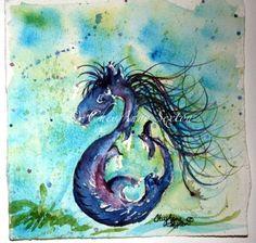 Watercolor Midnight Purple SeaPony Fine Art Home by CheyAnneSexton, $30.00