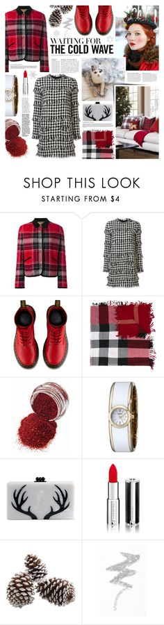 """""""2 weeks"""" by kumi-chan ❤ liked on Polyvore featuring Maison Kitsuné, MSGM, Dr. Martens, Burberry, Anja, Caravelle by Bulova, Edie Parker, Givenchy and NYX"""