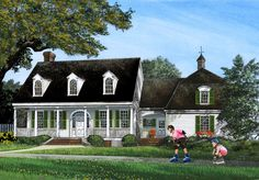 Gambrel Roof House Plan with 4 or 5 Bedsedrooms - 32649WP | Country, Southern, Traditional, 1st Floor Master Suite, Bonus Room, Den-Office-Library-Study, Jack & Jill Bath, Multi Stairs to 2nd Floor, PDF, Corner Lot | Architectural Designs