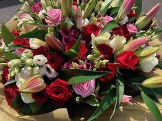 by Rodgers The Florist, Manchester. Flowers Uk, Luxury Flowers, 100 Red Roses, Red Rose Arrangements, Rose Lily, Beautiful Red Roses, Hand Tied Bouquet, Luxury Candles, Pink Tulips