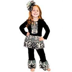 AnnLoren Girls Chic Black Winter Floral & Deer Outfit