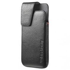 BlackBerry Z10 Leather Swivel Holster - Black + Screen Protector