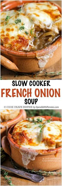Slow Cooker French Onion Soup is one of our favorite meals to come home to! A rich beefy broth loaded with caramelized onions and herbs and topped with an amazing Gruyere cheese topping!