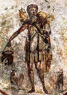 The earliest depiction of Jesus that has been found is a mid-third-century wall painting in the St. Callistus catacomb in Rome. Jesus is shown as a young beardless shepherd caring for the sheep. The image derives from depictions of the Greek god Hermes, often shown as a shepherd, who functioned as an intercessor between human and divine and who guided souls into the afterlife.