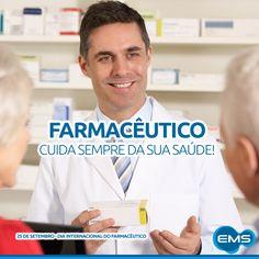 Ele cuida da sua saúde com muita dedicação e atenção! Uma homenagem da EMS à todos os farmacêuticos do Brasil. #diainternacionaldofarmaceutico