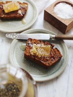 grilled pumpkin bread with honeycomb | My New Roots