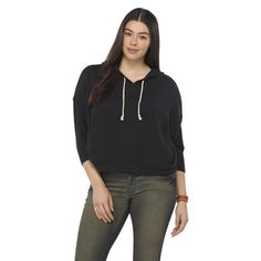 Mossimo Supply Co. Junior's Plus-Size 3/4-Sleeve Tee Hoodie - Assorted Colors