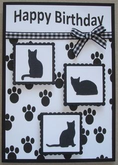 B040 Hand made birthday card using IO Cat dies. By Linda Fraser