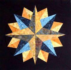 "Mariner's+Compass+Quilt+Blocks | Mandala Mariner's Compass Quilt Block 14"" square Matched Pair"