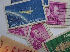 Lot of 50 Vintage 1960s Postage Stamps