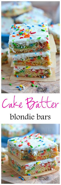These Cake Batter Blondie Bars are filled with cake batter flavor, without the use of a cake mix. And you can't go wrong with any dessert that is packed with sprinkles!