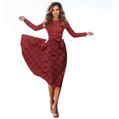 FANALA Leisure Vintage Dresses Autumn Fall Women Plaid dress women plaid Print Autumn Casual elegant Dress Knee-length vestidos