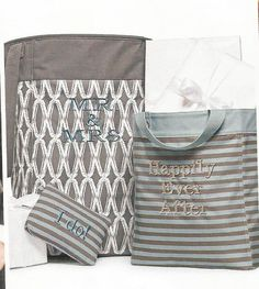 NEW! Stand Tall Bin (22 in. high) in Charcoal Links & Essentials Storage Tote and Mini Zipper Pouch in Perfect Stripe. #ThirtyOneGifts #ThirtyOne #JewellByThirtyOne #JKbyThirtyOne #Monogramming #Organization #Wedding #ShowerGifts