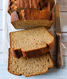 Banana Bread with thermomix and conventional instructions. Free from gluten, grains, dairy and refined sugar. Banana Carrot Bread, Protein Banana Bread, Healthy Muffins, Healthy Sweets, Healthy Breads, Healthy Kids, Muffins Sains, Sweet Potato Bread, Whole Food Recipes