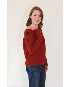 Swallow Tattoo , red off-the-shoulder sweatshirt Loose Goose Canada Tattoo T Shirts, Tattoos, Swallow Tattoo, Off The Shoulder, Turtle Neck, Canada, Sweatshirts, Sweaters, Red