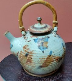 Studio Art Pottery Artisan Stoneware Teapot with Bamboo Handle by Gary Hart