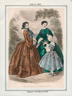 In the Swan's Shadow: Magasin des Demoiselles, October 1859.  Civil War Era Fashion Plate
