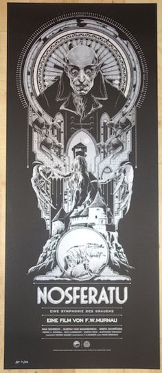"""Nosferatu - silkscreen movie poster (click image for more detail) Artist: Ken Taylor Venue: N/A Location: N/A Date: 2014 Size: 15"""" x 36"""" Edition: artist edition of 20; numbered Condition: Mint Notes:"""