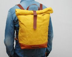 waxed Canvas Backpackbronze color hand by NATURALHERITAGEBAGS