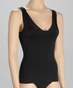 Take a look at this Black Seamless Layered-Look Shaper Tank - Women & Plus by Plusform on #zulily today!