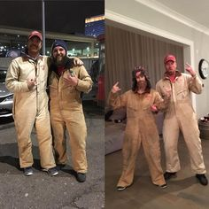 #tbt to our team Halloween party, it's finally cold enough so I could get a pic of our awesome parking guys @mjernst1 and Dave in these lovely coveralls!!! #detroitredwings #lgrw #whenyouforgettobuyacostume