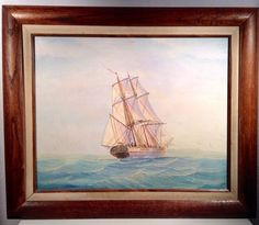 Oil Painting of Clipper Ship by Daniel Ambrose  Ship Out at Sea Signed Framed #Realism