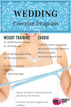 Cardio and Weight Training Wedding Exercise Program with Diet Tips Too. Free 2 Week Wedding Workout in this post. Diet Plans To Lose Weight, How To Lose Weight Fast, Diet Motivation Quotes, Childhood Obesity, Living A Healthy Life, Event Planning, Wedding Planning, Wedding Ideas, Smoothie Diet
