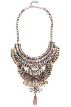 Thoughtfulness Gold Statement Necklace at Lulus.com!