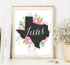 Texas Print map art State wall print flower Printable state poster Wedding Gift Home Decor Sign wall design art Usa map poster digital art by LittleEmmasFlowers on Etsy https://www.etsy.com/listing/240857435/texas-print-map-art-state-wall-print