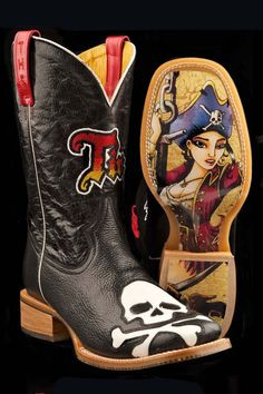 Tin Haul Boots Men's Skull And Cross Glow Cowboy Boots