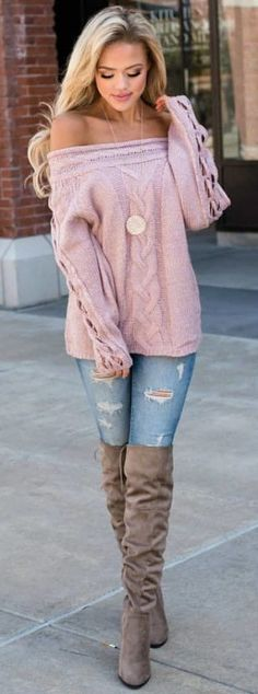 #Winter #Outfits / Off The Shoulder Long Sleeve Shoulder - Over The Knee Suede Boots