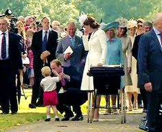 Prince George gets attention from daddy & his mum when he's a little tuckered out after lil sis' christening.