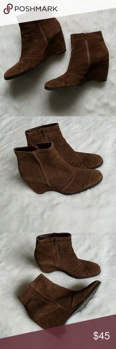 Franco Sarto Suede Booties!!! Super cute brown suede Franco Sarto wedge booties. Pre-owned and in good condition. Normal wear and some scuffs on the heel. Still in very great shape. So cute. Comes from a smoke-free pet-free home. Fast shipping! NO TRADES! Franco Sarto Shoes Ankle Boots & Booties